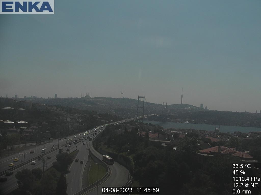 Онлайн веб-камера Стамбула с видом на Мост мучеников 15 июля (Босфорский мост)
